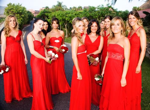 Les robes longues rouges demoiselle d'honneur